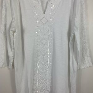 Chico's white blouse embellishments/embroidered